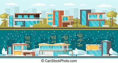horizontal lobogó, külvárosi, táj