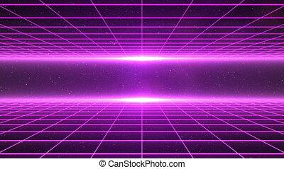 Horizontal matrix grid moving towards camera in space - ...