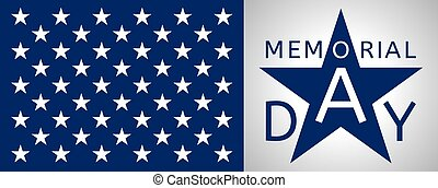 Horizontal Memorial Day background  with the emblem in the form of a blue star and part of USA flag