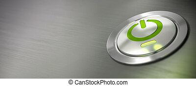 horizontal, mené, puissance, informatique, commutateur, bannière, pc, feu vert, fermé, bouton, barbouillage, effet