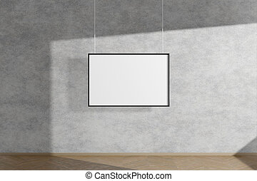 Horizontal mock up picture frame in black hanging on concrete wall simple interior dark room light and shadow of the window. 3D rendering