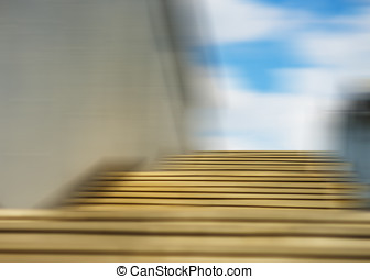 Horizontal motion blur stairs with sky background hd