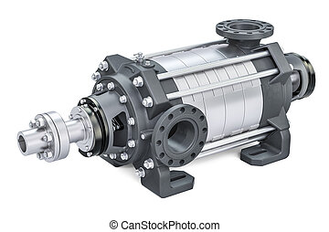 Horizontal multistage centrifugal pump, 3D rendering...