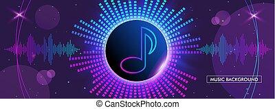 horizontal music banner. Bright purple futuristic round equalizer.