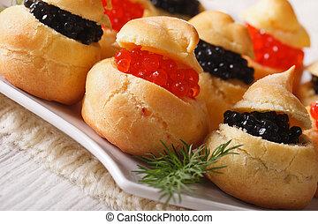 horizontal, negro, profiteroles, rojo, caviar