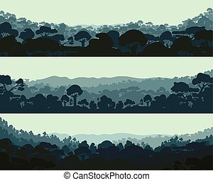 Horizontal night forest. Landscape trees. Silhouettes. Vector.