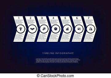 Horizontal numbered arrows. Concept illustration or background. Timeline infographic. Vector monochrome template 7 positions
