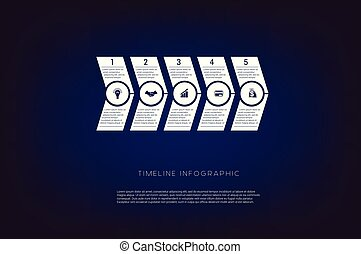 Horizontal numbered arrows. Concept illustration or background. Timeline infographic. Vector monochrome template 5 positions