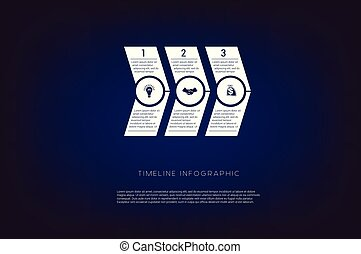 Horizontal numbered arrows. Concept illustration or background. Timeline infographic. Vector monochrome template 3 positions