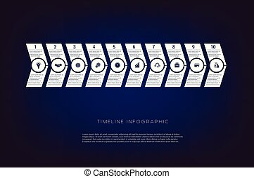 Horizontal numbered arrows. Concept illustration or background. Timeline infographic. Vector monochrome template 10 positions