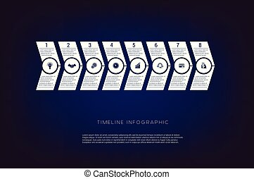 Horizontal numbered arrows. Concept illustration or background. Timeline infographic. Vector monochrome template 8 positions