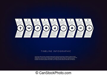 Horizontal numbered arrows. Concept illustration or background. Timeline infographic. Vector monochrome template 9 positions