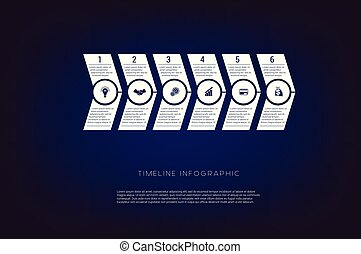 Horizontal numbered arrows. Concept illustration or background. Timeline infographic. Vector monochrome template 6 positions