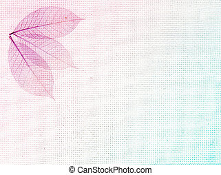 Horizontal or vertical background with leaves on canvas texture