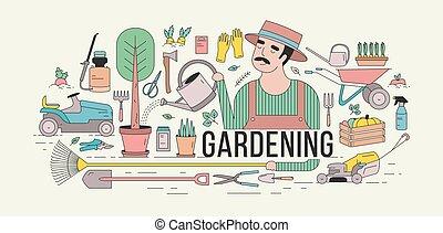 horizontal, outils, entouré, art, vegetables., coloré, chapeau, arrosage, arbre, équipement, style., bannière, usines, vecteur, illustration, jardinage, potted, agriculture, ligne, jardinier, jardin