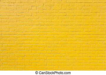 horizontal part of yellow painted brick wall