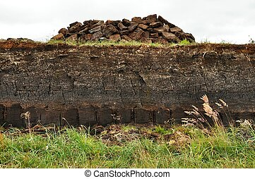 horizontal peat digging on Harris, Scotland - horizontal of ...