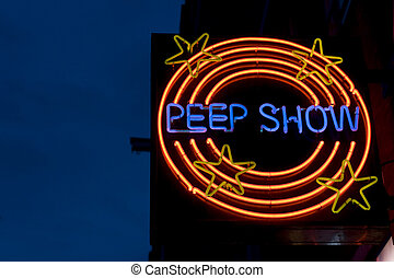 horizontal, peepshow, señal