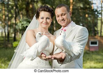 newly married couple - horizontal photo, happy newly married...