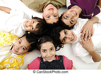 Horizontal  photo of six children group,  friends smiling isolated on white, boys and girls closeup