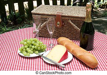 horizontal, picknick, zwei
