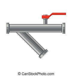 Horizontal pipe with a branch. Vector illustration on white background.