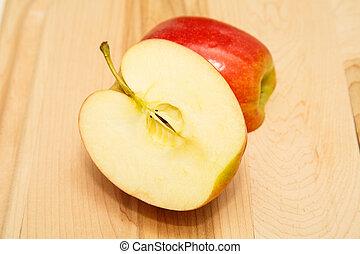 horizontal, pomme, rouges, moitié