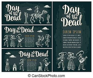 Horizontal poster for Dia de los Muertos. Day of the Dead...