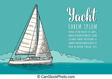 Horizontal poster for yacht club with text template. Vector...