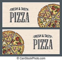 Horizontal poster slice pizza Pepperoni, Hawaiian, Margherita, Mexican, Seafood, Capricciosa.