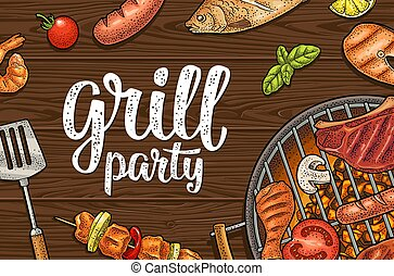Horizontal poster with bbq. Grill party calligraphic handwriting lettering.