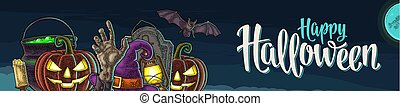 Horizontal poster with Happy Halloween calligraphy lettering and engraving