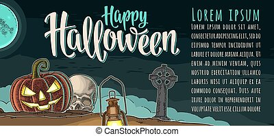 Horizontal poster with Happy Halloween calligraphy lettering. Vector engraving