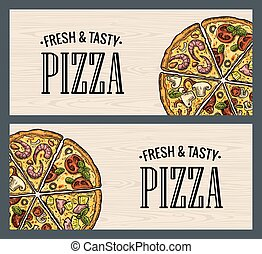 Horizontal poster with monochrome and colorful slice pizza