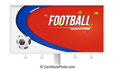 Horizontal poster with playing ball on white billboard. Background of football or soccer world championship cup. Vector 3D illustration for sport events, banner