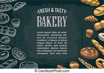 Horizontal posters with bread on the dark background.