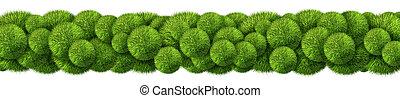 horizontal, résumé, herbe, frontière