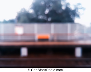 Horizontal railway station with bench bokeh background hd