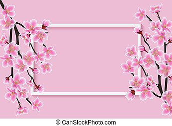 Horizontal rectangle frame with a sakura or cherry vector illustration background.
