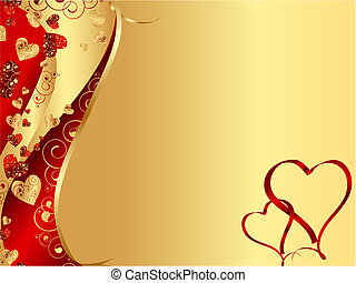 horizontal red abstract wavy heart frame with copy-space for your text