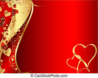horizontal red abstract wavy heart frame