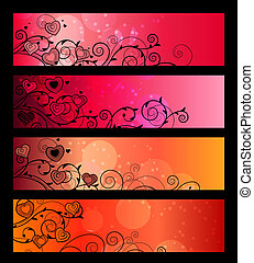 Horizontal red banners with absract flowers and hearts