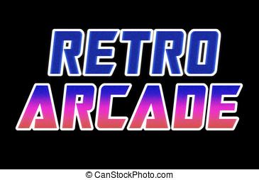 Horizontal retro arcade text illustration background