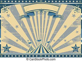 Horizontal retro blue circus