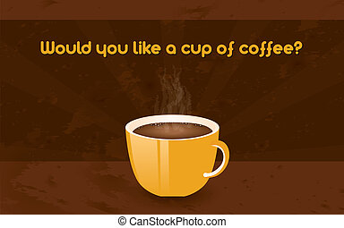 cup of coffee - horizontal retro poster - cup of coffee