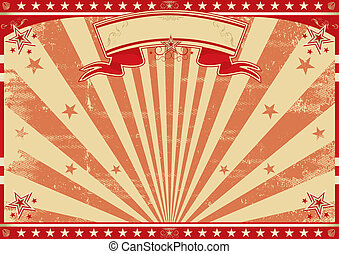 Horizontal retro red sunbeams - a circus vintage poster for...