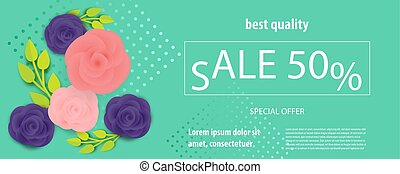 Horizontal rose bud ultraviolet sale banner - Horizontal...