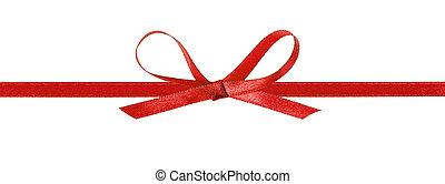horizontal, rouges, mince, ruban, arc