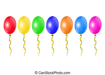 colorful balloons - horizontal row of colorful balloons with...