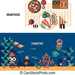 Horizontal  Seafood Banners Set